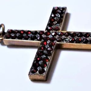 Jewelry - Victorian 10K Cross with Bohemian Rose Cut Garnets